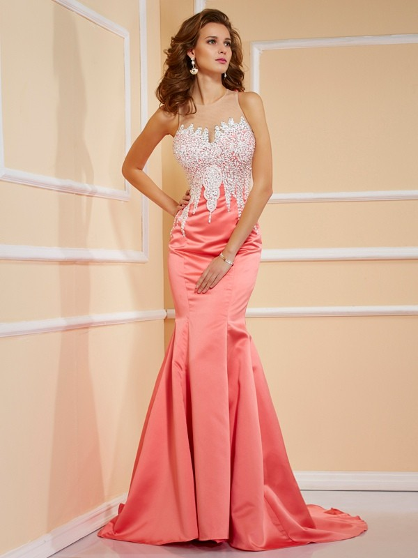 Sheath/Column Jewel Beading Sleeveless Long Satin Dresses
