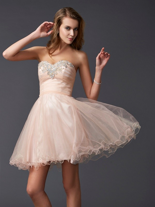 A-Line/Princess Sweetheart Sleeveless Short Silk like Satin Homecoming Dresses