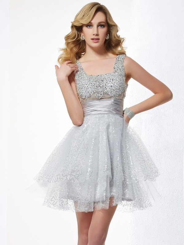 A-Line/Princess Straps Beading Sleeveless Elastic Woven Satin Homecoming Dresses