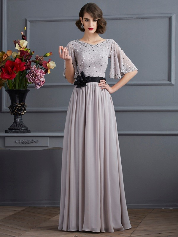 A-Line/Princess 1/2 Sleeves Beading Long Chiffon Dresses