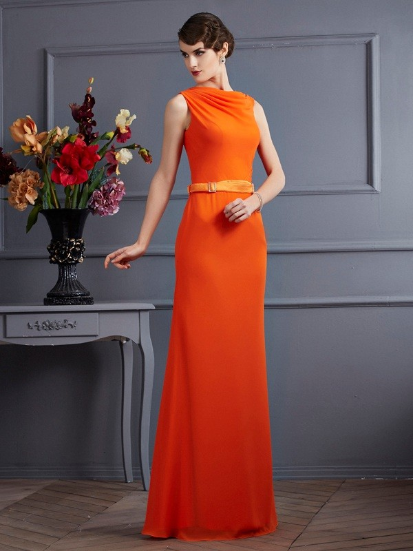 Sheath/Column Sleeveless Long Chiffon Dresses