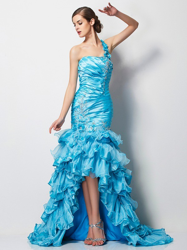 Trumpet/Mermaid One-Shoulder Beading Sleeveless High Low Taffeta Dresses