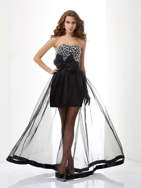 A-Line/Princess Sweetheart Beading Sleeveless Long Organza Dresses