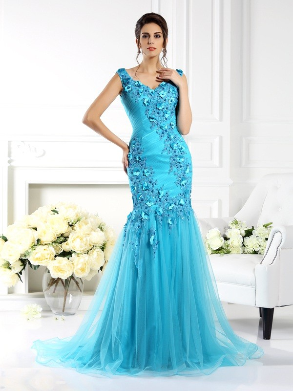 Trumpet/Mermaid Straps Applique Sleeveless Long Silk like Satin Dresses