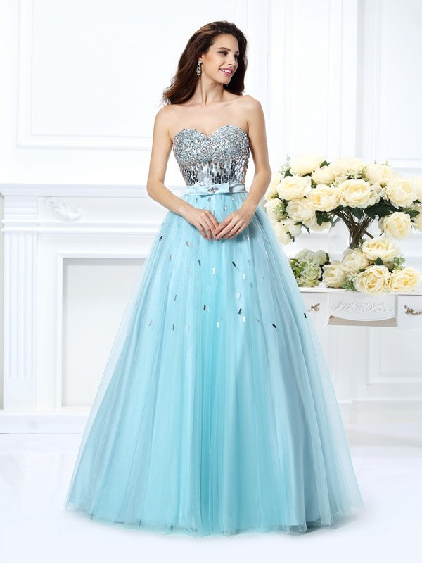 Ball Gown Sweetheart Beading Sleeveless Paillette Long Satin Quinceanera Dresses