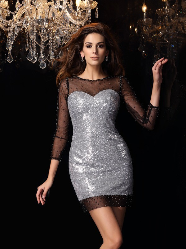 Sheath/Column Scoop Beading 3/4 Sleeves Short Sequins Cocktail Dresses