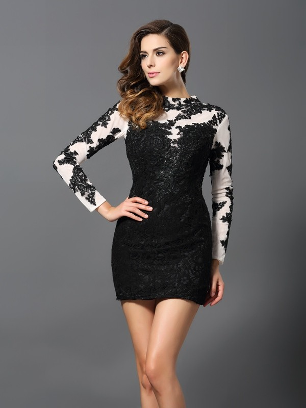 Sheath/Column Applique Long Sleeves Short Lace Cocktail Dresses