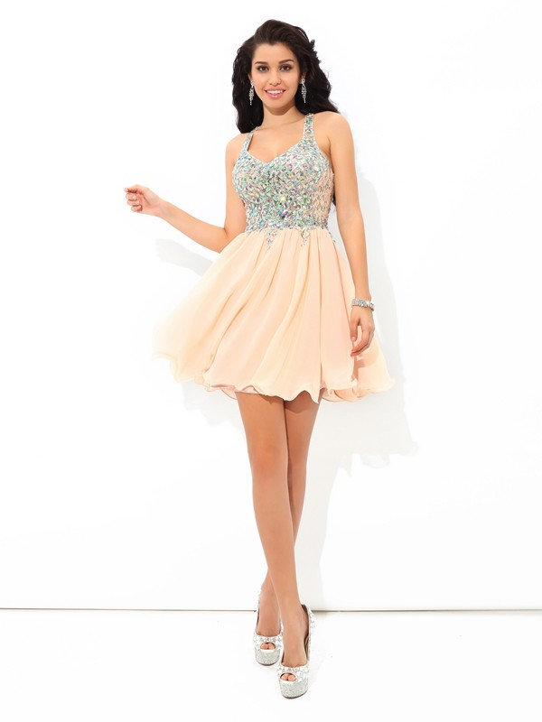 A-Line/Princess Straps Sleeveless Short Chiffon Cocktail Dresses