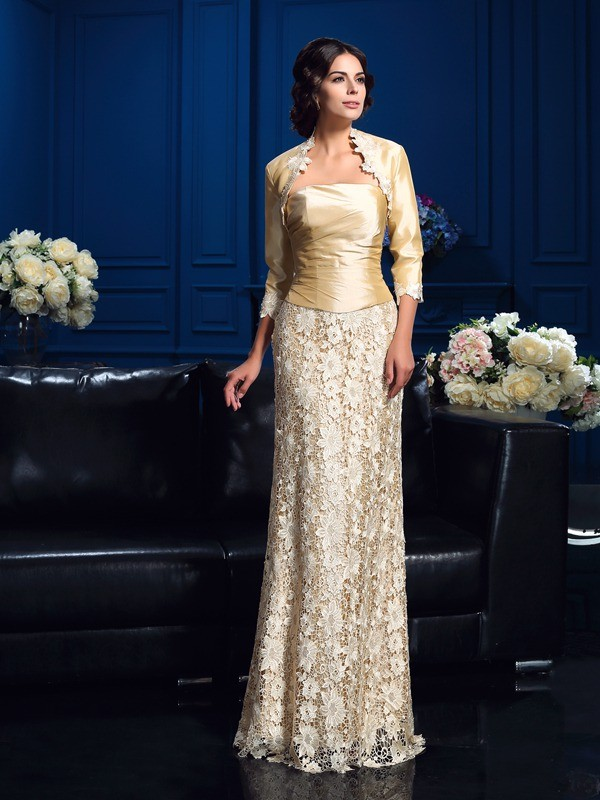A-Line/Princess Strapless Lace Sleeveless Long Lace Mother of the Bride Dresses