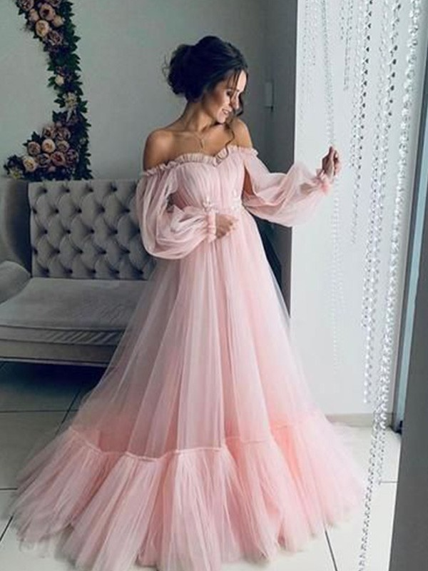 A-Line/Princess Off-the-Shoulder Tulle Long Sleeves Applique Long Dresses