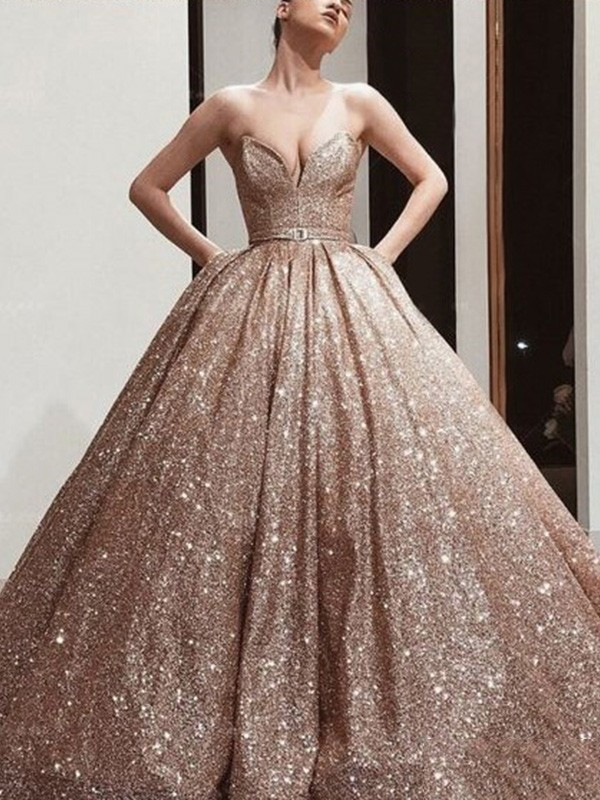 Ball Gown Sweetheart Sequins Sash/Ribbon/Belt Sleeveless Long Dresses
