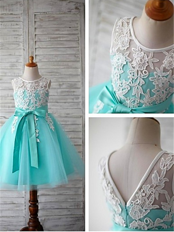 Ball Gown Sleeveless Scoop Bowknot Knee-Length Tulle Flower Girl Dresses