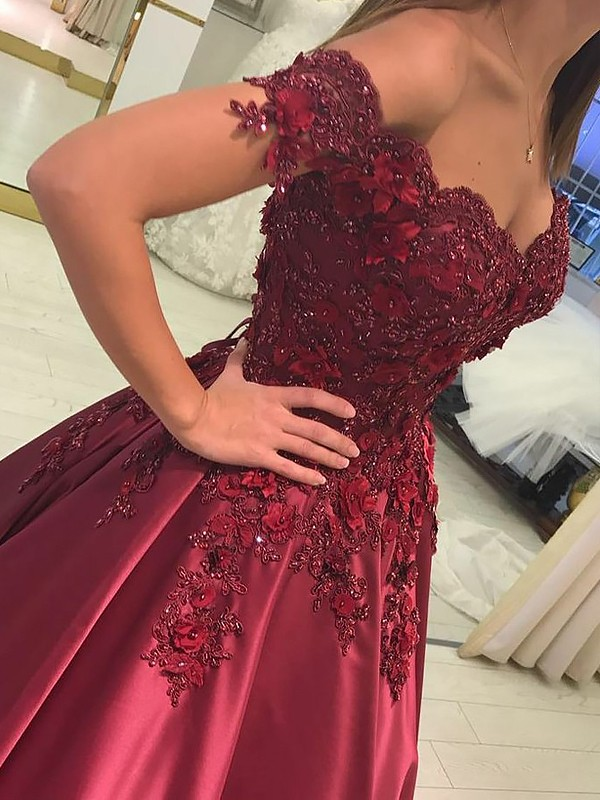 Ball Gown Sleeveless Off-the-Shoulder Applique Satin Floor-Length Dresses