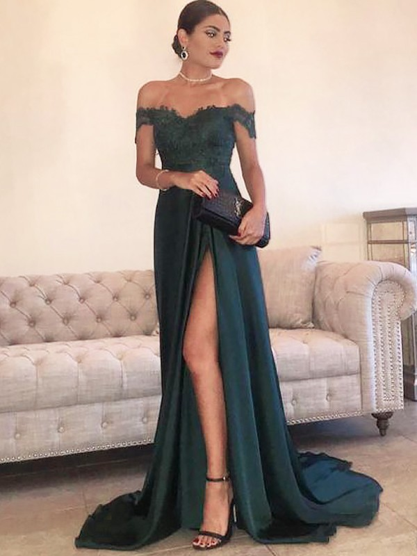 A-Line/Princess Off-the-Shoulder Sweep/Brush Train Satin Dress with Lace