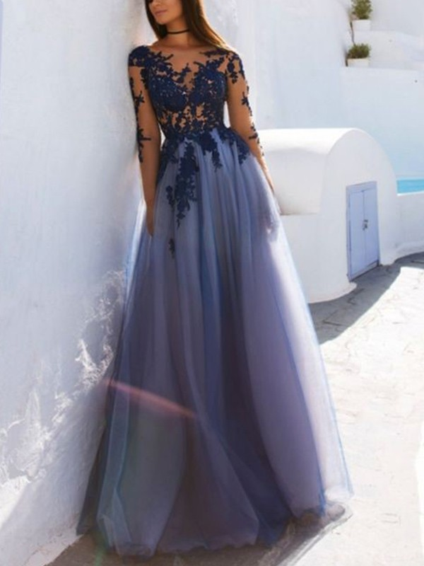 A-Line Scoop Long Sleeves Floor-Length With Applique Tulle Dresses