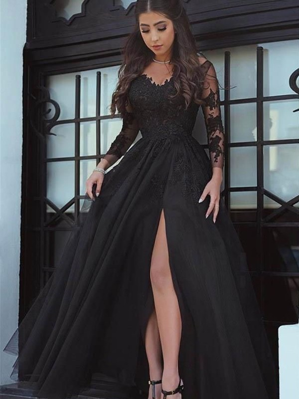 Ball Gown Long Sleeves Off-the-Shoulder Sweep/Brush Train Lace Dresses