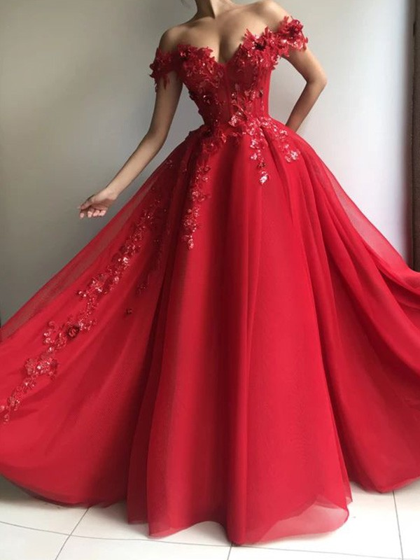 Dazzling A-Line Off-the-Shoulder Tulle Sleeveless Applique Floor-Length Dress