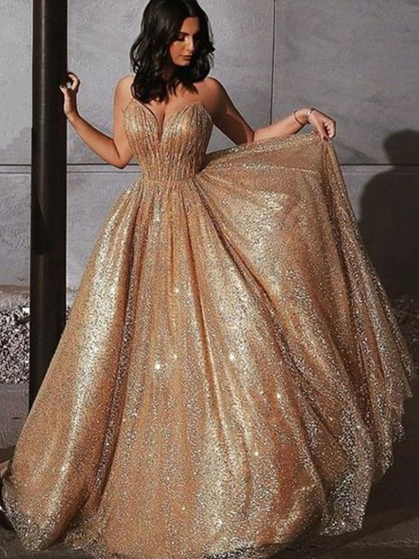 Stay Shining A-Line Spaghetti Straps Tulle Sequin Sleeveless Sweep/Brush Train Dress