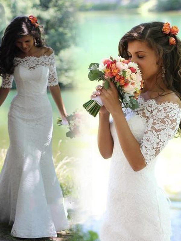 Trumpet/Mermaid Off-the-Shoulder 1/2 Sleeves Lace Sweep/Brush Train Wedding Dress