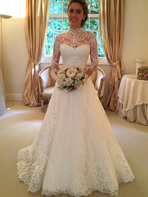 Ball Gown Long Sleeves Lace Court Train Wedding Dresses