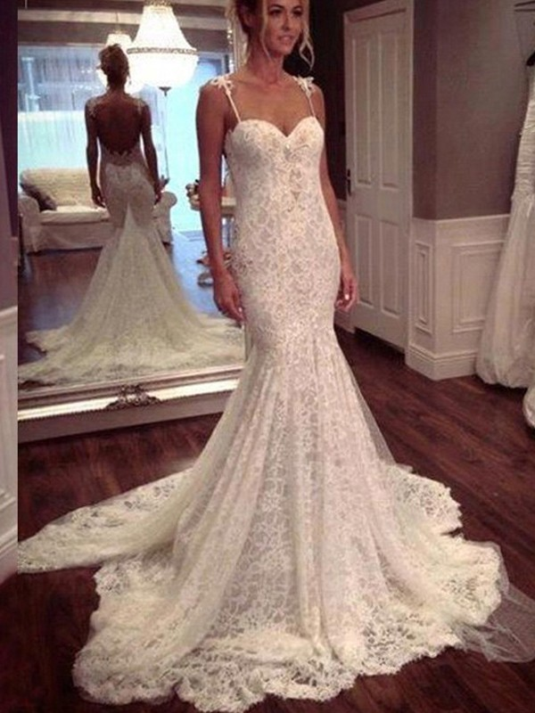 Trumpet/Mermaid Court Train Spaghetti Straps Lace Wedding Dress