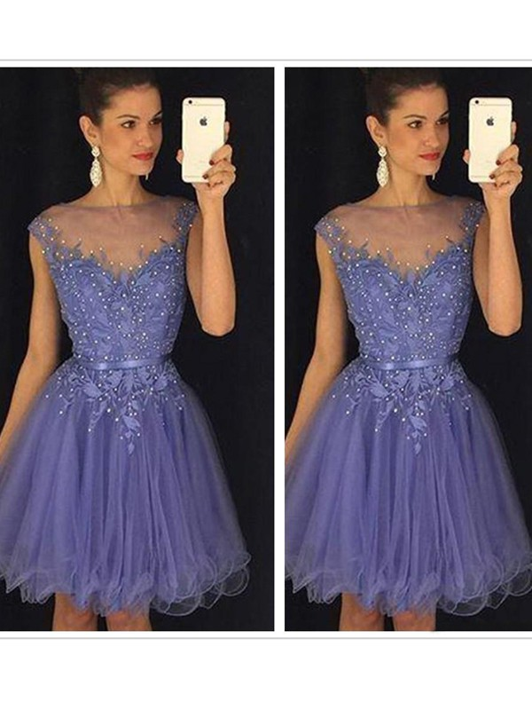 A-Line/Princess Scoop Applique Tulle Short/Mini Dress