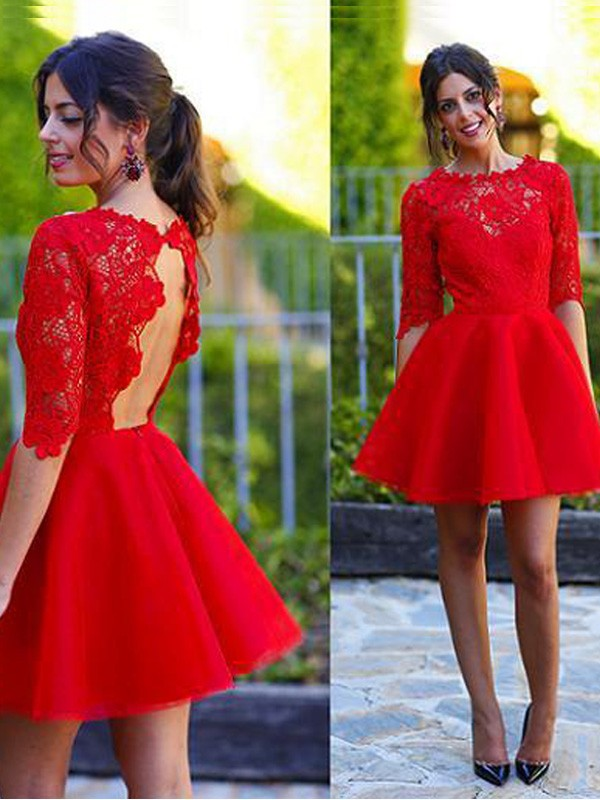 A-Line/Princess Scoop 1/2 Sleeves Lace Short/Mini Dress