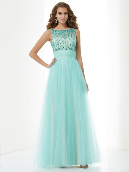 A-Line/Princess Bateau Beading Elastic Woven Dress with Satin