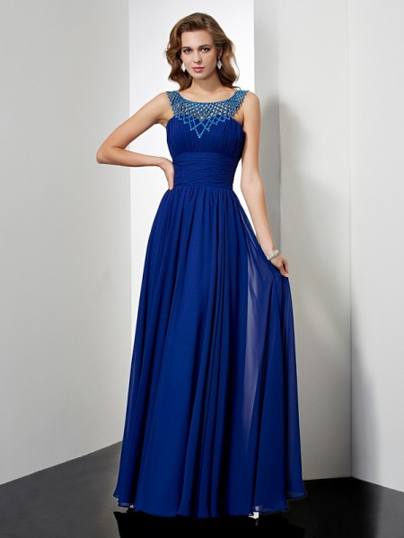 Empire High Neck Beading Dress with Chiffon