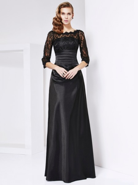Sheath/Column Off the Shoulder Lace Long Elastic Woven Satin Mother of the Bride Dress