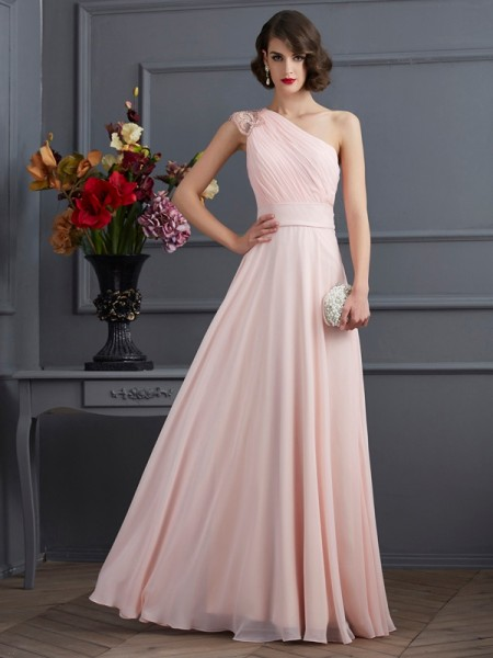 A-Line/Princess One-Shoulder Long Beading Chiffon Dress
