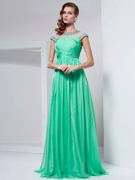 A-Line/Princess High Neck Short Sleeves Ruffles Dress with Long Chiffon