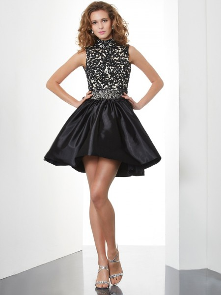 A-Line/Princess High Neck Beading Short Taffeta Homecoming Dress