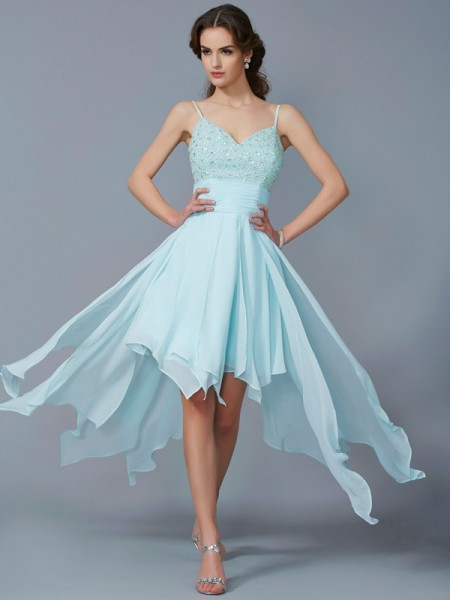 A-Line/Princess Spaghetti Straps Beading High Low Chiffon Homecoming Dress