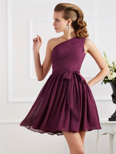 A-Line/Princess Pleats One-Shoulder Short Chiffon Bridesmaid Dress