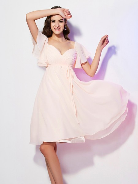 Sheath/Column Sweetheart Short Sleeves Ruffles Short Chiffon Bridesmaid Dress