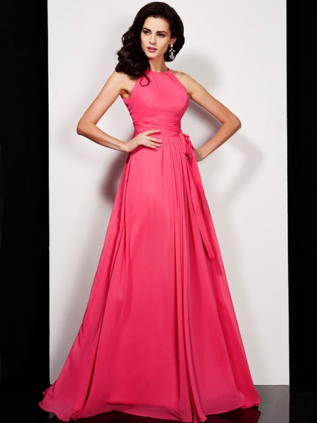 A-Line/Princess High Neck Sash/Ribbon/Belt Dress with Long Chiffon