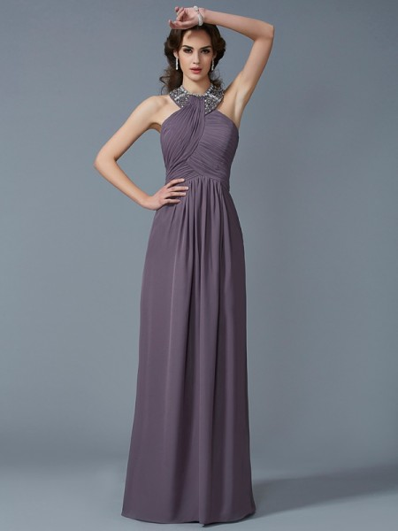 Sheath/Column High Neck Beading Dress with Long Chiffon