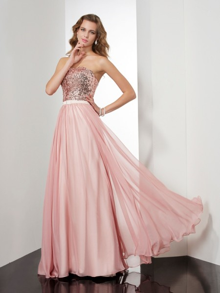A-Line/Princess Strapless Paillette Dress with Long Chiffon