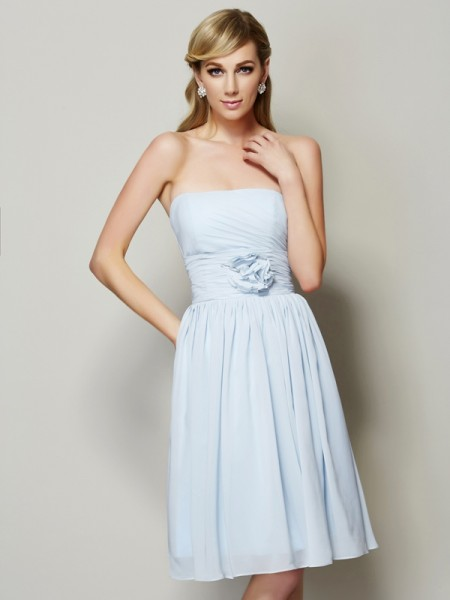 A-Line/Princess Strapless Short Chiffon Bridesmaid Dress