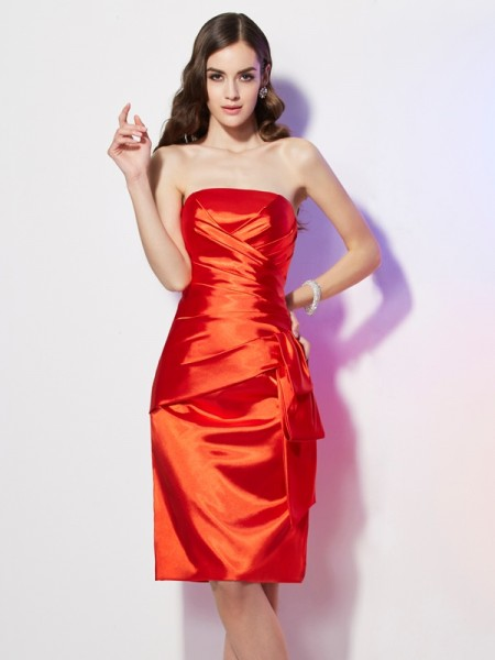Sheath/Column Strapless Pleats Short Elastic Woven Satin Dress
