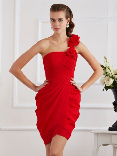 Sheath/Column One-Shoulder Short Chiffon Homecoming Dress