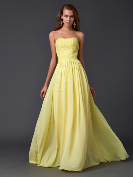 A-Line/Princess Strapless Pleats Dress with Long Chiffon