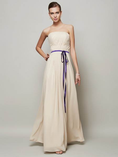A-Line/Princess Strapless Sash/Ribbon/Belt Dress with Long Chiffon