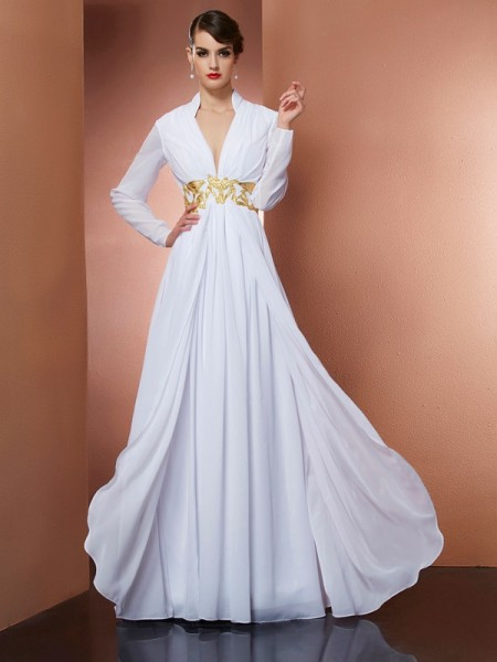 A-Line/Princess V-neck Long Sleeves Dress with Long Chiffon