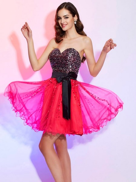 A-Line/Princess Sweetheart Sash/Ribbon/Belt Short Organza Homecoming Dress