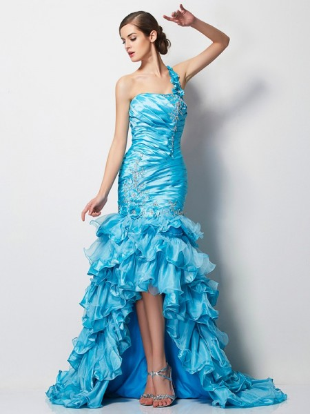 Trumpet/Mermaid One-Shoulder Beading High Low Taffeta Dress