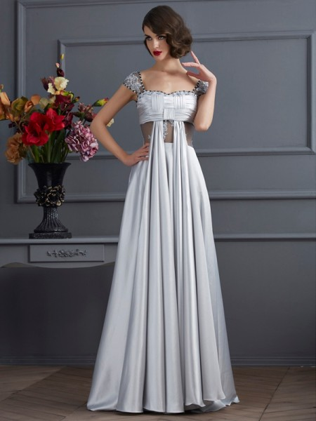 A-Line/Princess Off the Shoulder Pleats Long Elastic Woven Satin Dress