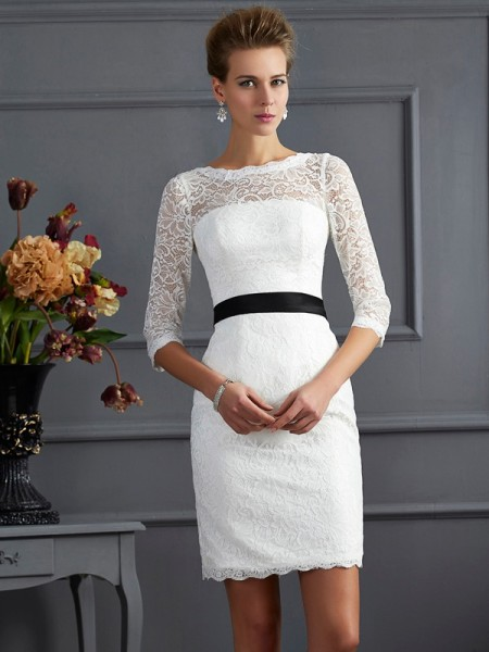 Sheath/Column Scoop Sash/Ribbon/Belt Short Lace Mother of the Bride Dress