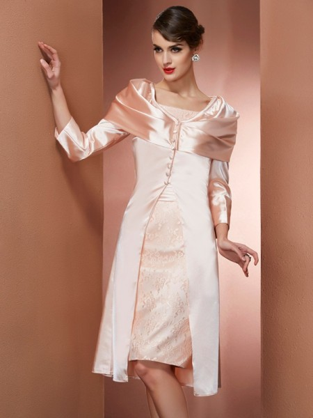 Sheath/Column Square Short Elastic Woven Satin Mother of the Bride Dress